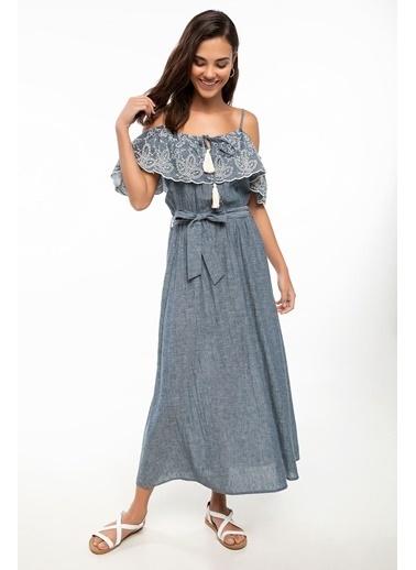 DeFacto Omuz Dekolteli Volan Detaylı Askılı Elbise Mavi